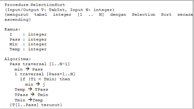 write a selection sort algorithm in pseudocode